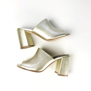 Shellys London Gold Calico Chunky Heel Mules